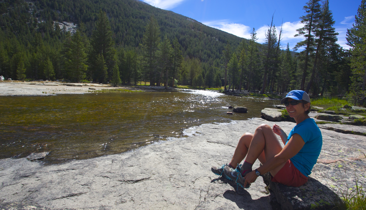 At our camp in Lyell Canyon. Although the trail in Lyell Canyon can be crowded, we waded across the Lyell Fork and found this fabulous and isolated campsite on smooth granite slabs.