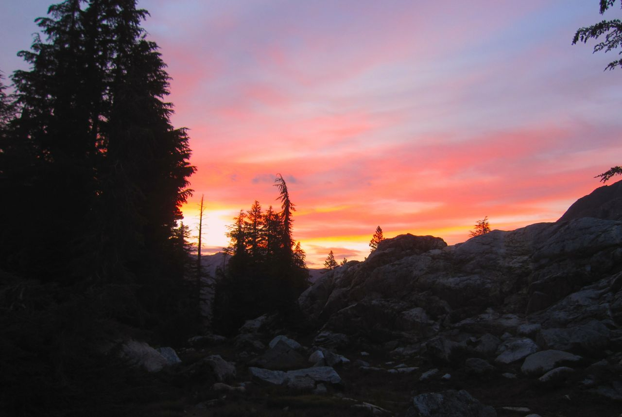 Sunrise above Ediza Lake.