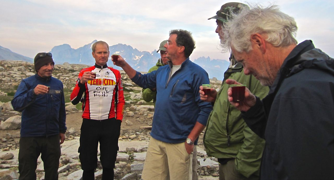 A toast to a lost friend at Blue Lake.