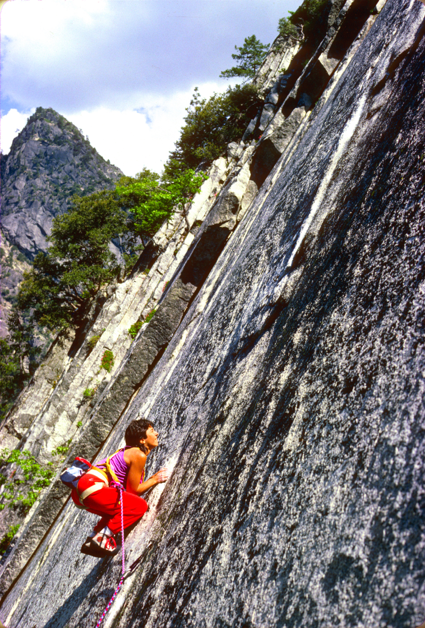 Karen leading the smooth and slippery Green Dragon, 5.11b, Glacier Point Apron, Yosemite Valley. From about 1986.