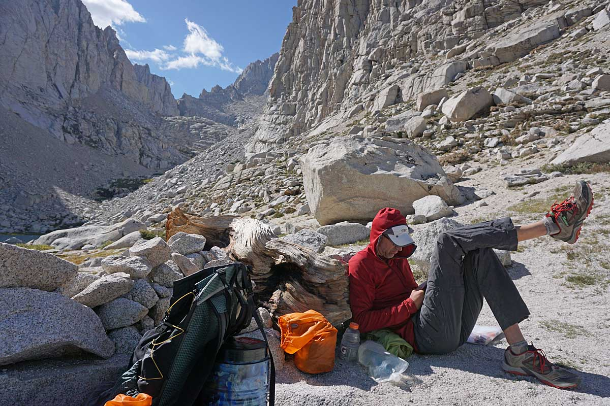 Our first downtime of the trip. Don reading some Rilke at Upper Boy Scout Lake. We arrived here mid-afternoon and had a relaxing and restorative afternoon before climbing Mt. Whitney the next morning.