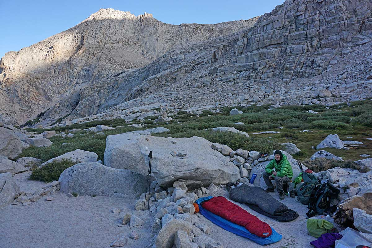 Alan at our bivy site along the shores of Upper Boy Scout Lake.