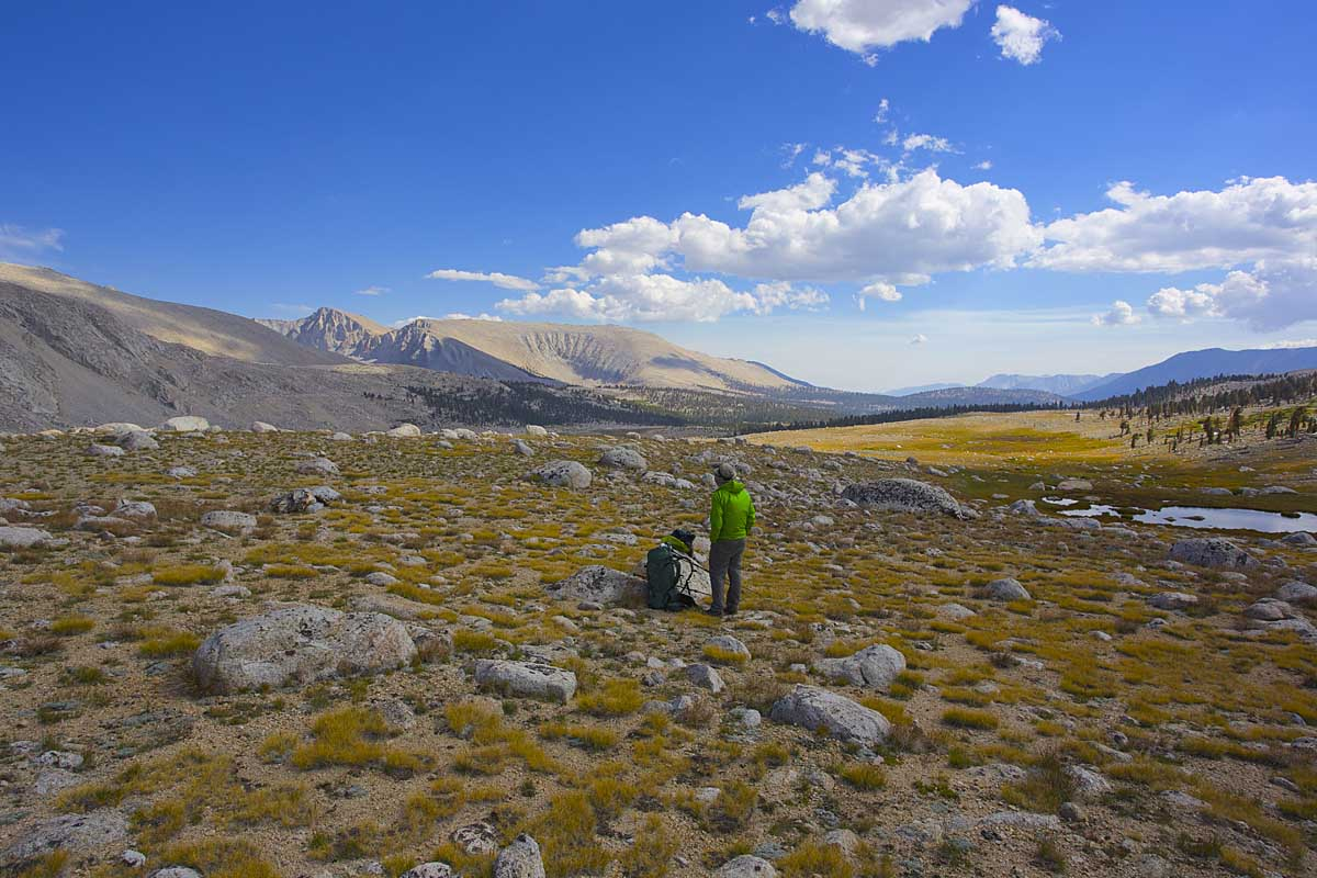 Surveying the vast and trailless expanse of Wright Lakes Basin.