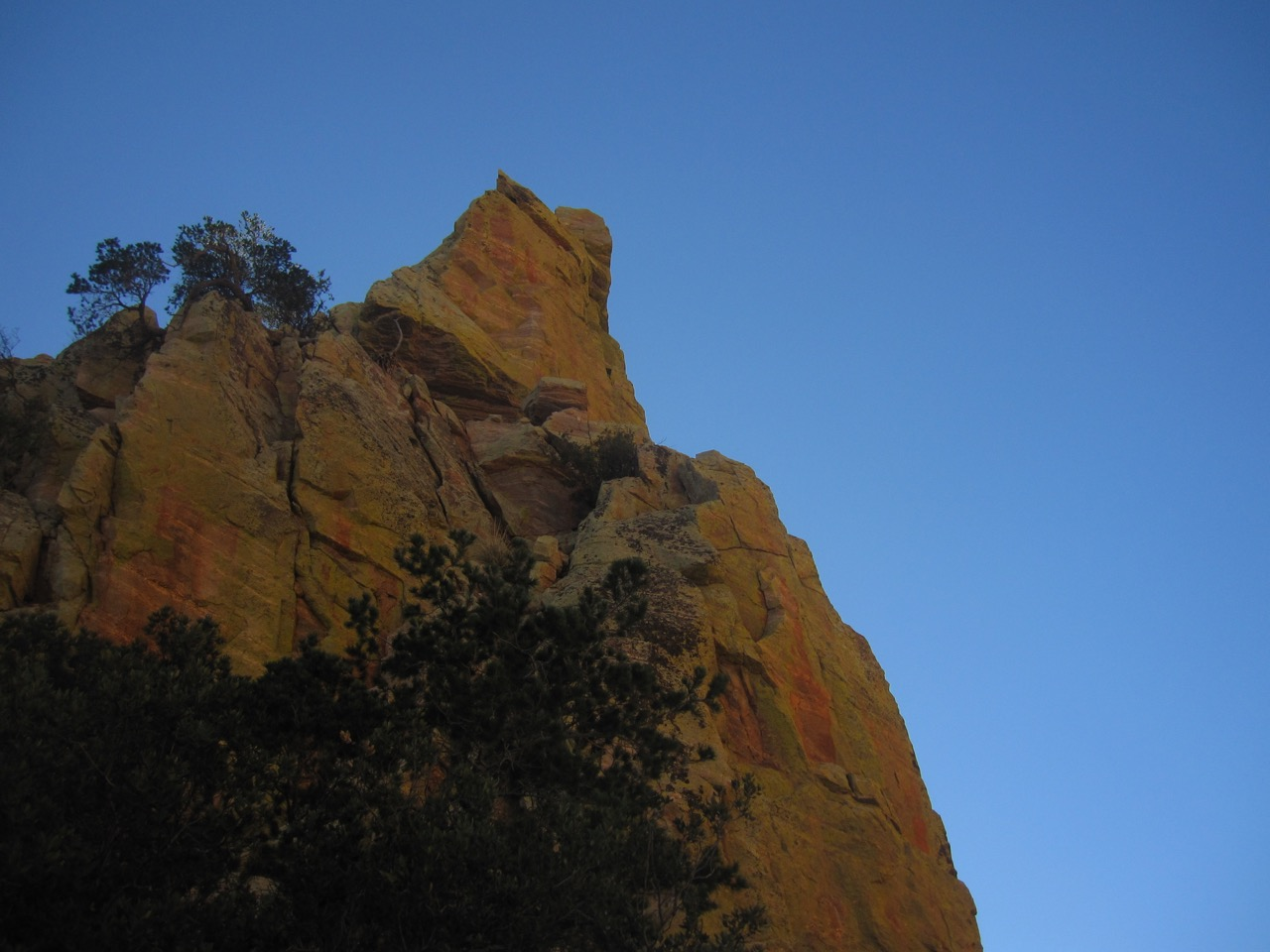 Looking up the northwest face of Finger Rock from the saddle at the base of the route.