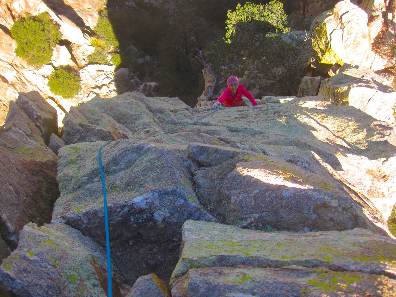 Just below the cruxface section on the second pitch.