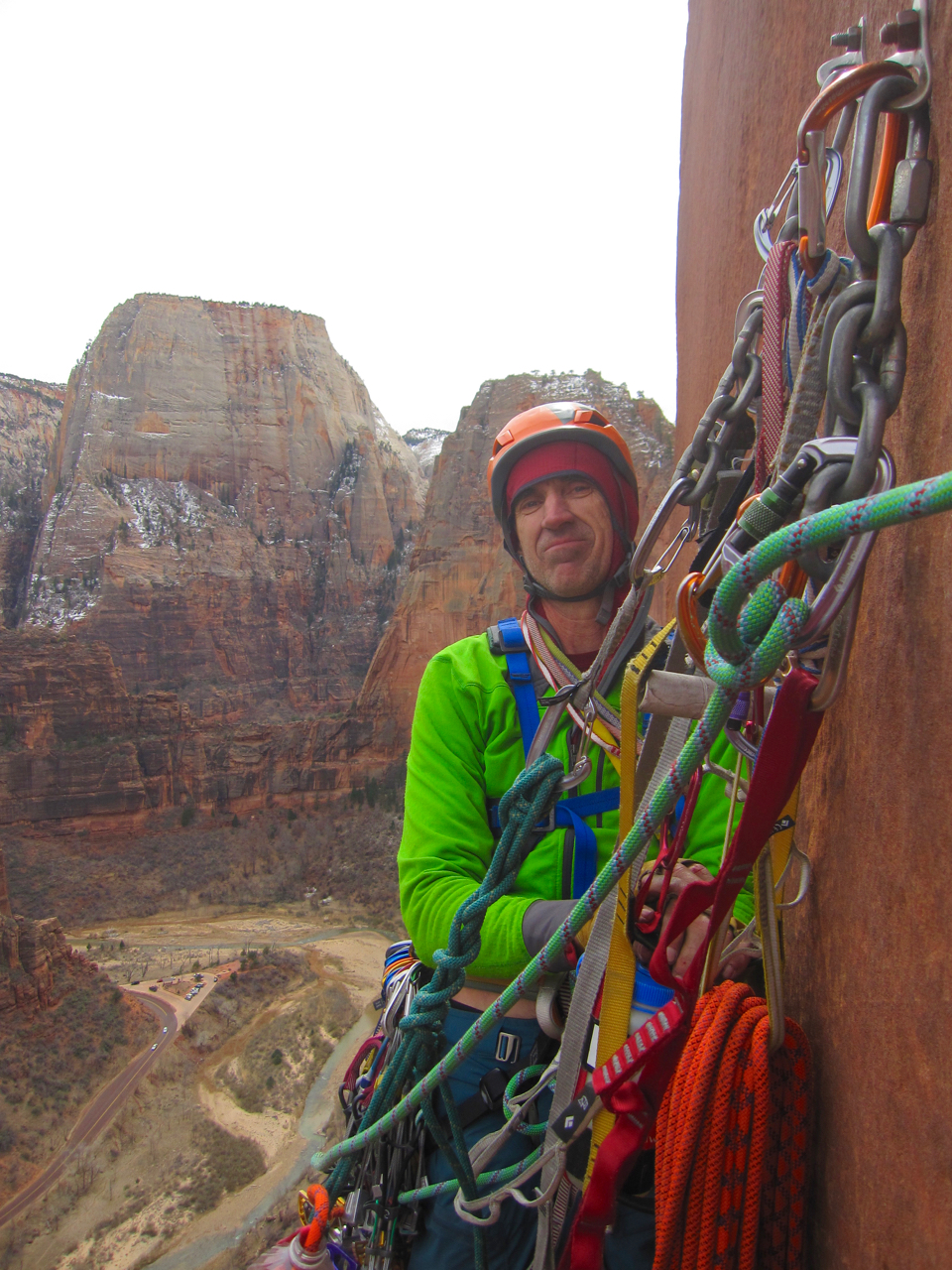 At the anchor on top of the fifth pitch.  This is a fantastic ledge and a great bivy spot.