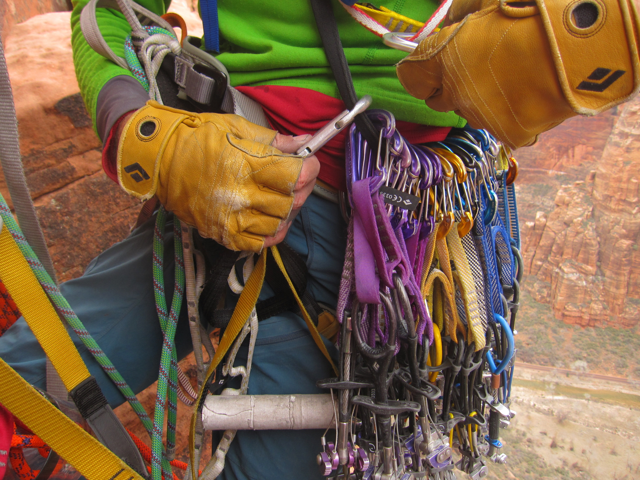 Most of the route is finger sized cracks and has very secure placements. No matter how much gear your bring, you will need to leapfrog placements.  We brought 9 0.5 purple camalots (or equivalent). We could have got by with fewer, but we used them all. Bring plenty of 0.4 and 0.75 sized cams too.
