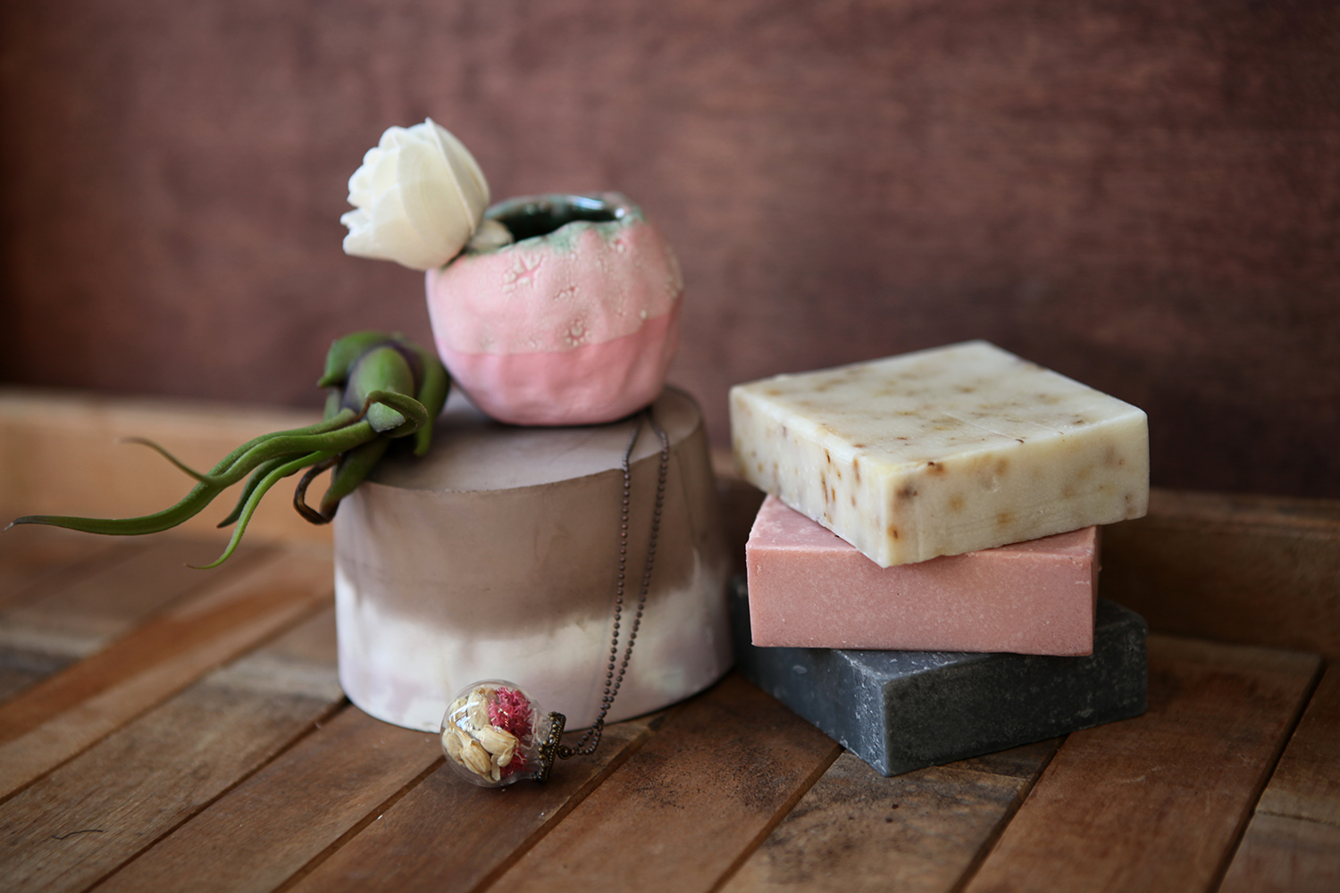 Welcome the freshness in the air with handmade soaps, essential oil diffusers, and flower globe pendants.