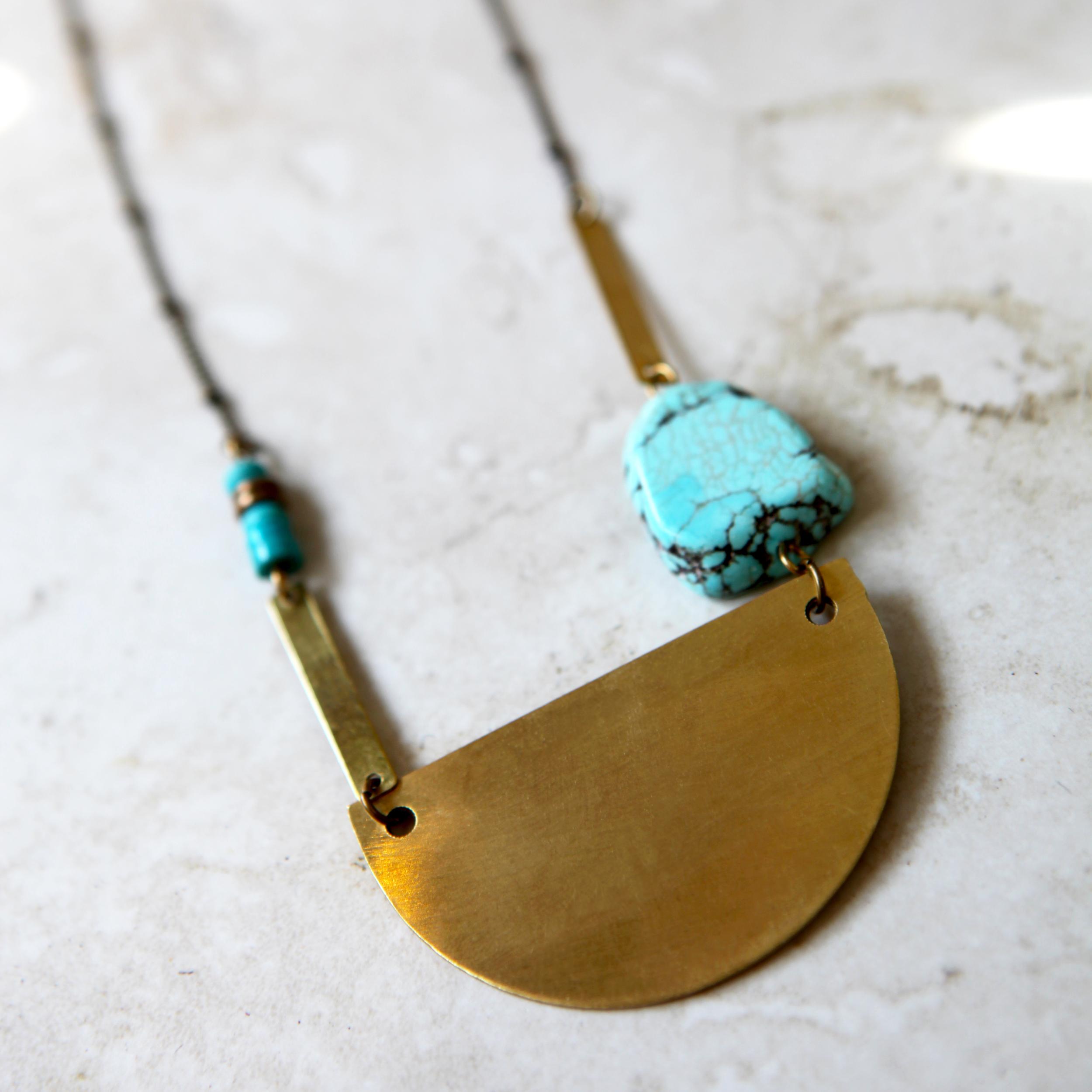 Metal Half Moon Turquoise Necklace -- $32.00.