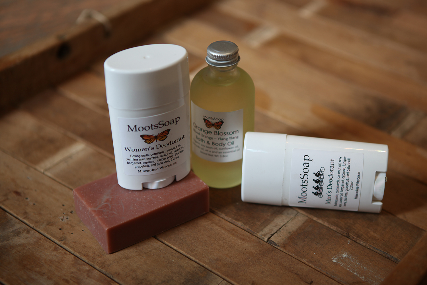 Men and Women's Deodorant, $8.  Orange Blossom Bath and Body Oil, $12.