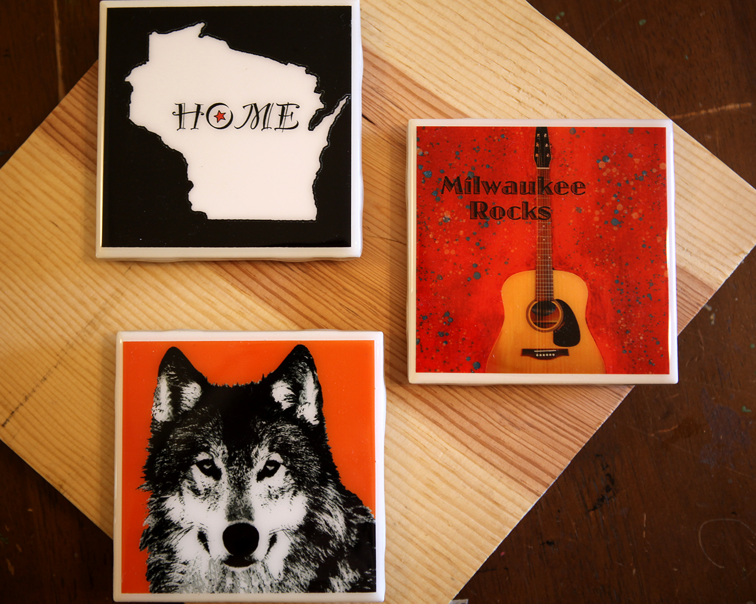 Tile coasters $10, 4 for $35.