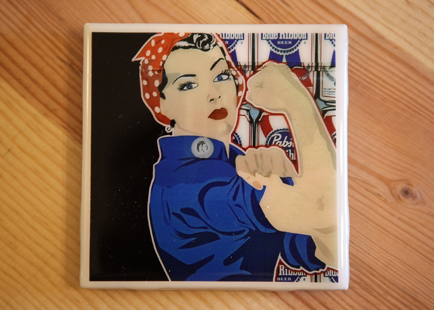 'We can do it' tile coaster, $10.