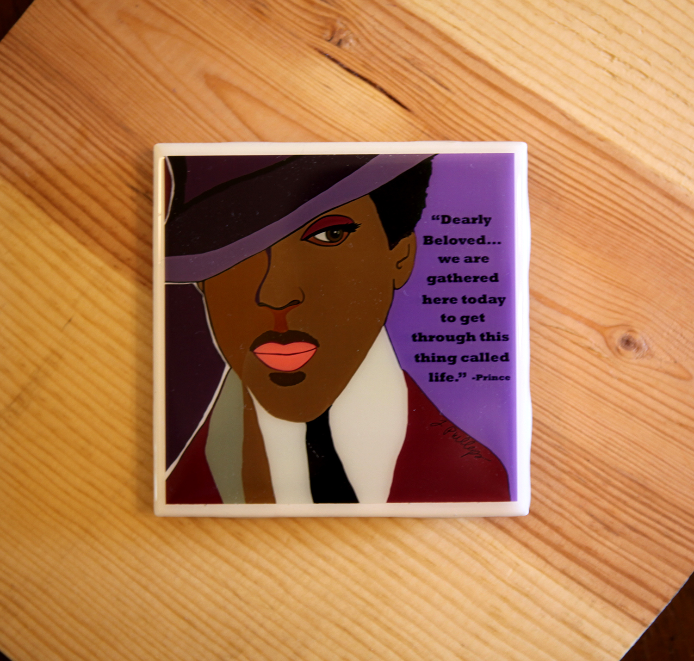 'Prince' tile coaster, $10.