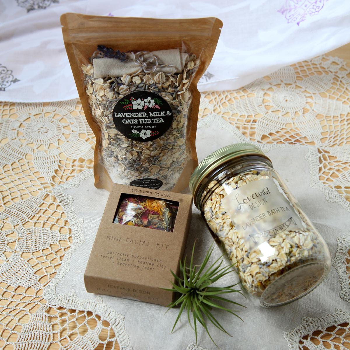 Mini facial kit $16, Lavender bath tea $10, Lavender milk and oat tub tea $15.