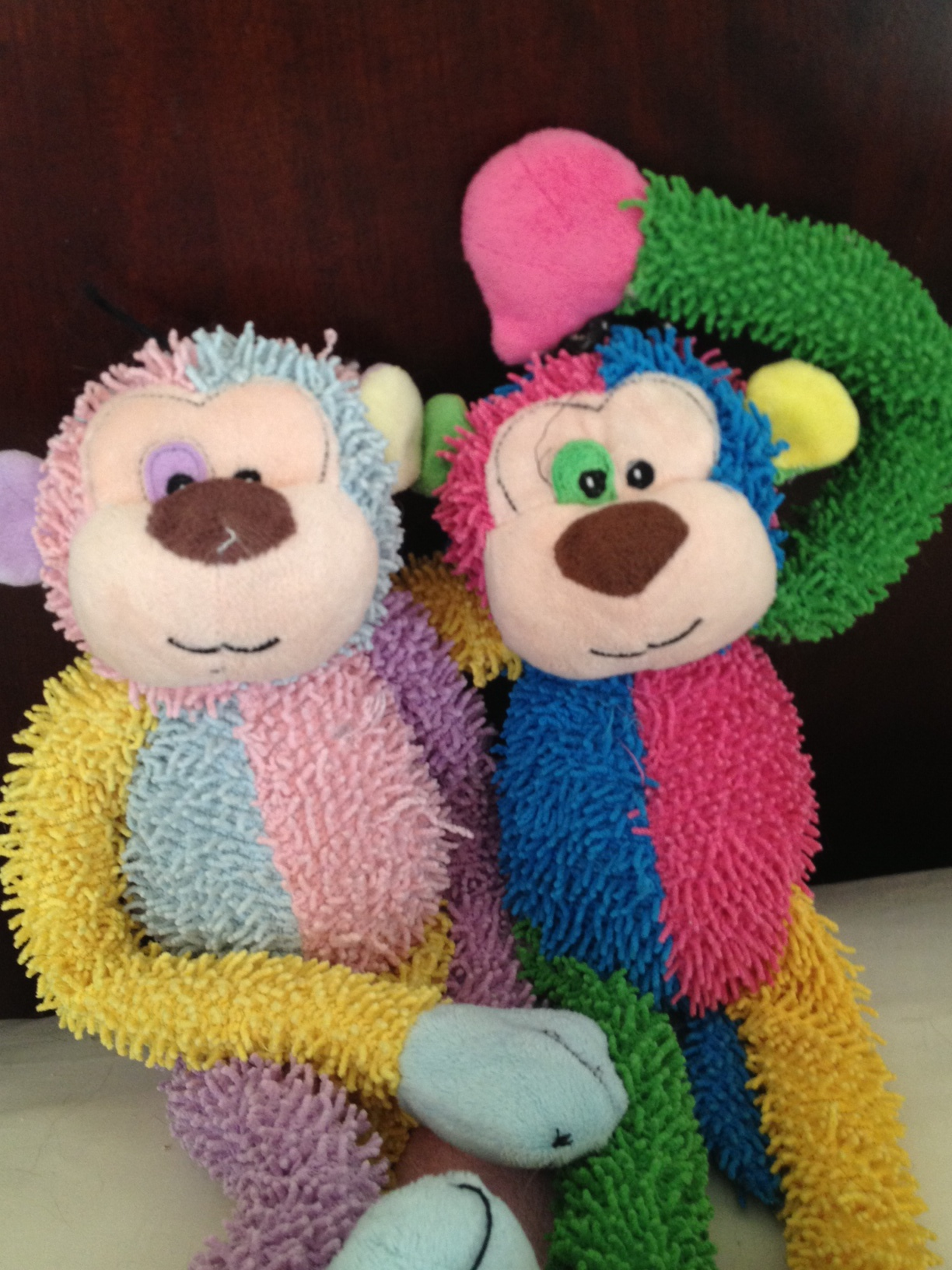 "Pictured: ""Monkey B""   ( on the right ) with his pal ""Monkey G"" on the Left.  The monkeys are named aptly MonkeyB ( Boy for Fricke ) and MonkeyG ( Girl for Mrs. Parker ) - note Fricke has befriend both:)"