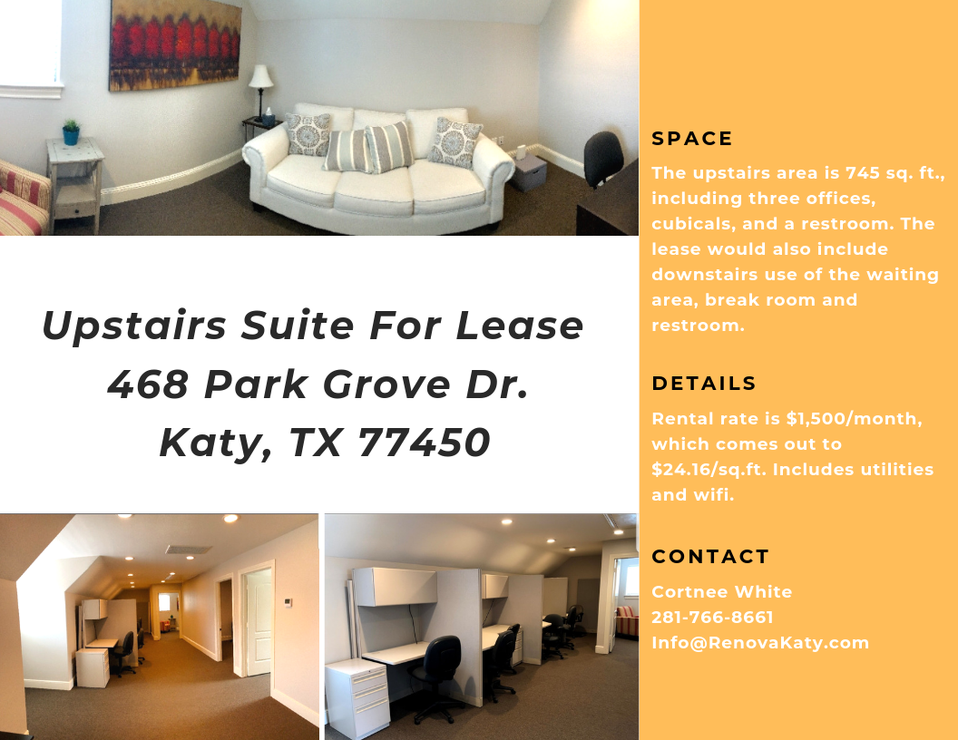 For more information please contact us at 281-766-8661 or Info@RenovaKaty.com