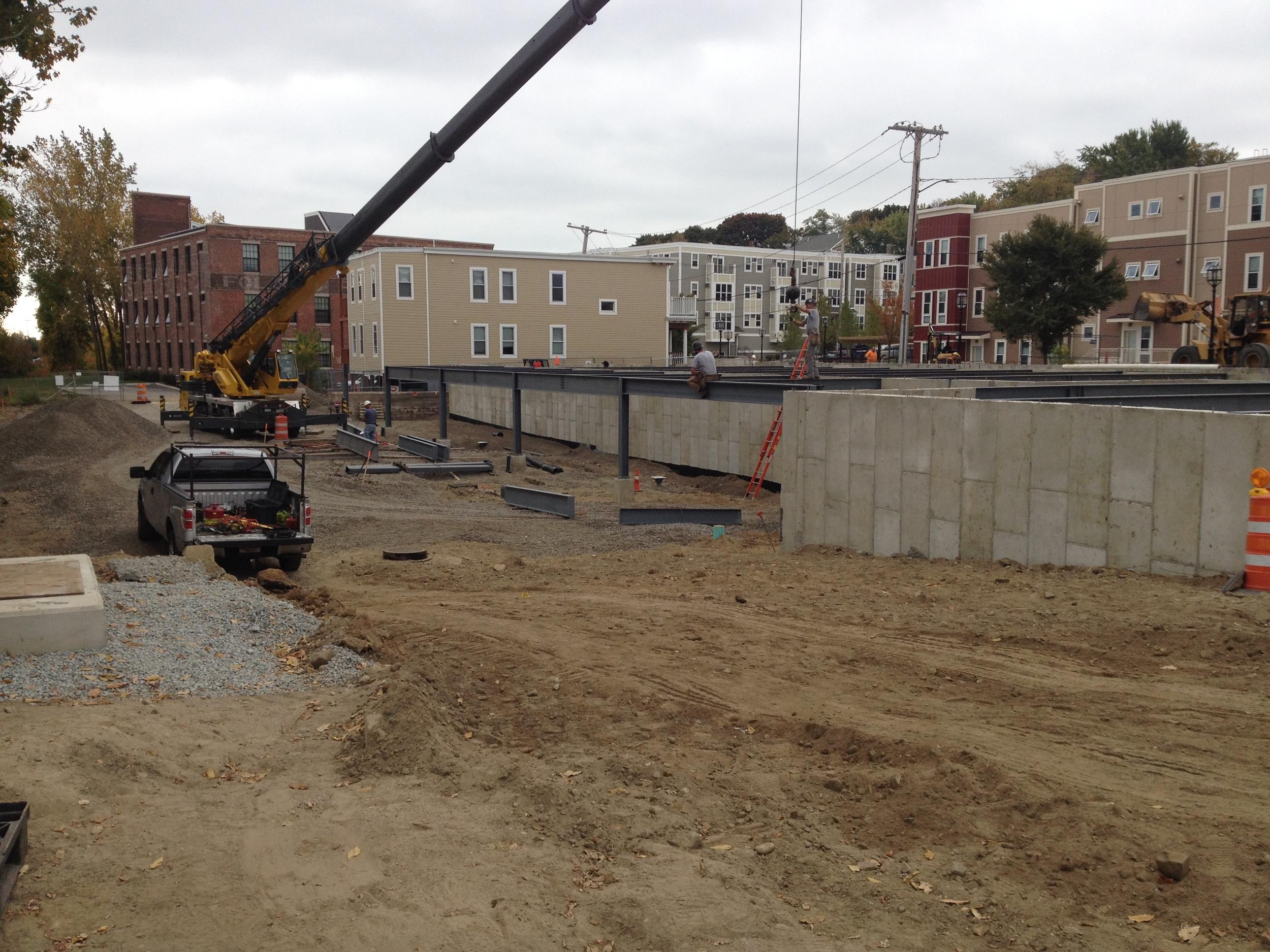 Setting steel on site