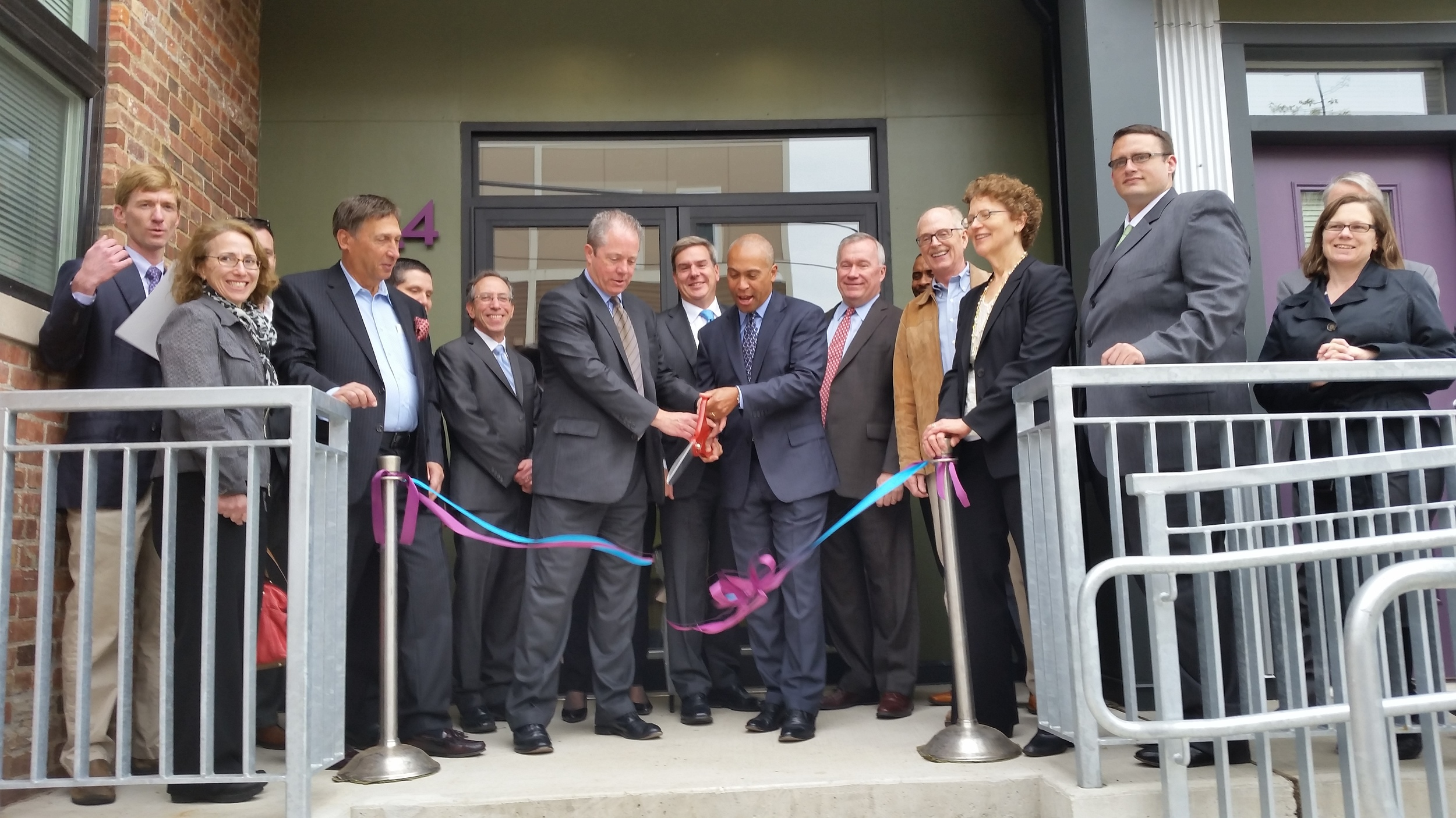 Governor Patrick cuts the Ribbon at the Flats at 44, completed March 2014