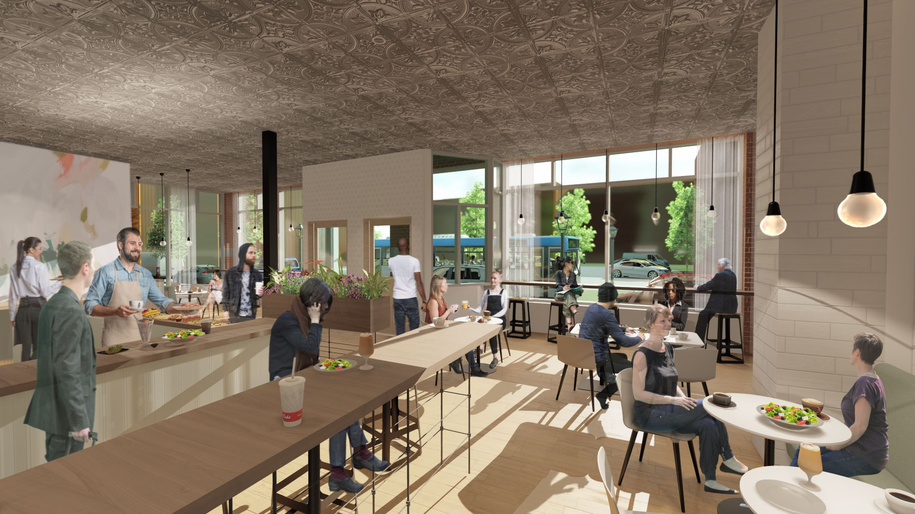 Interior rendering of the commercial space at 87 Washington, Haverhill