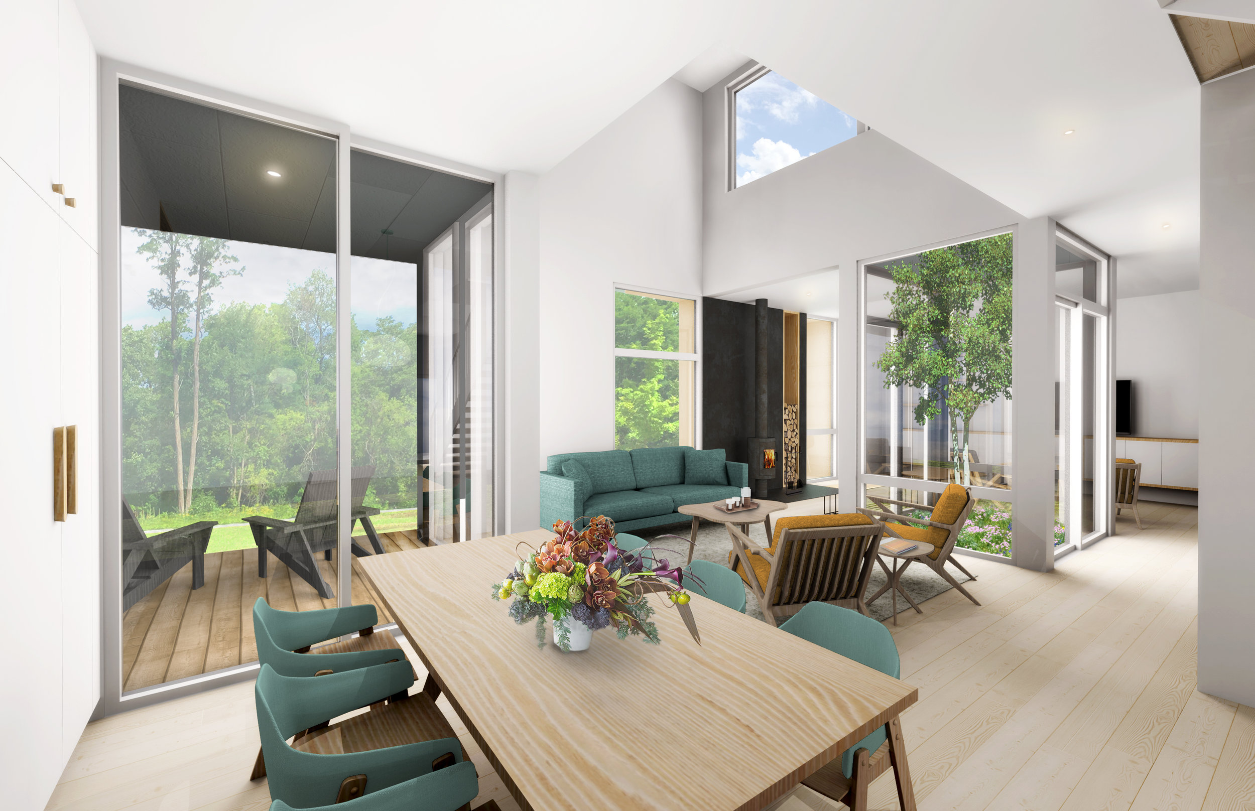 Interior rendering of the Riverhouses at Cable Mills