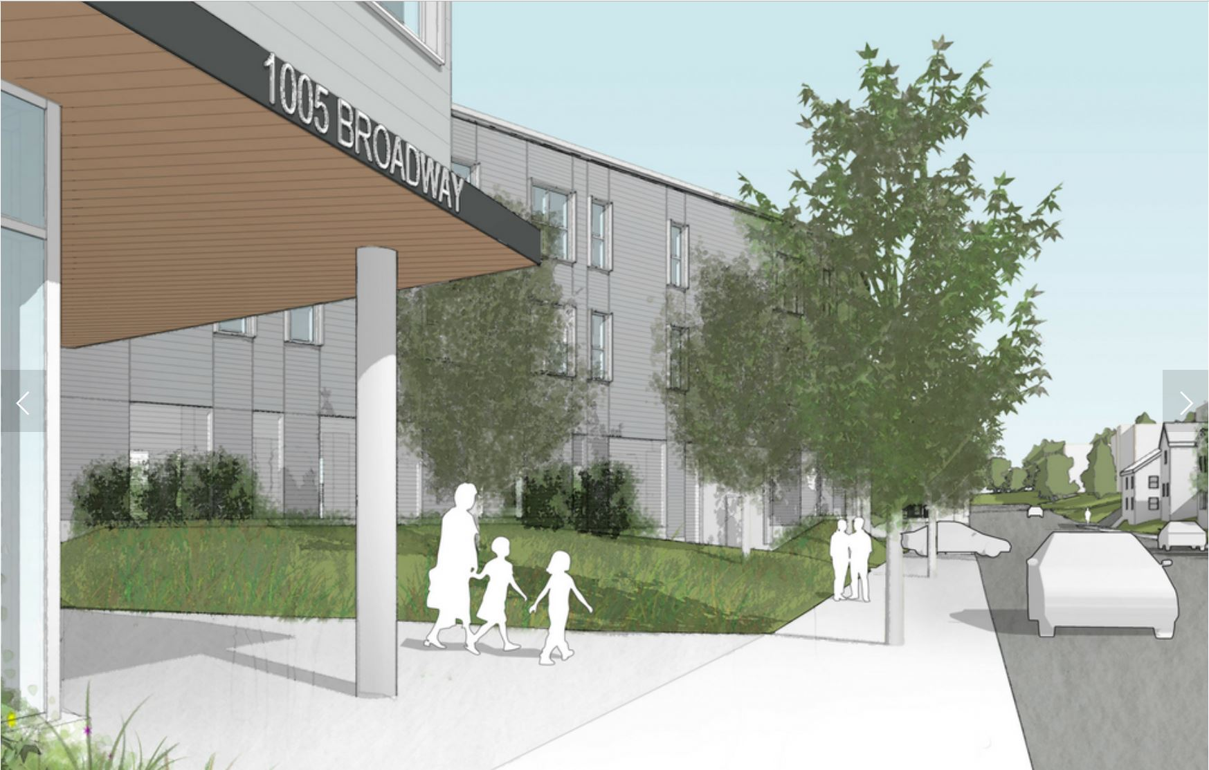 Rendering of the entrance to 1005 Broadway, Chelsea