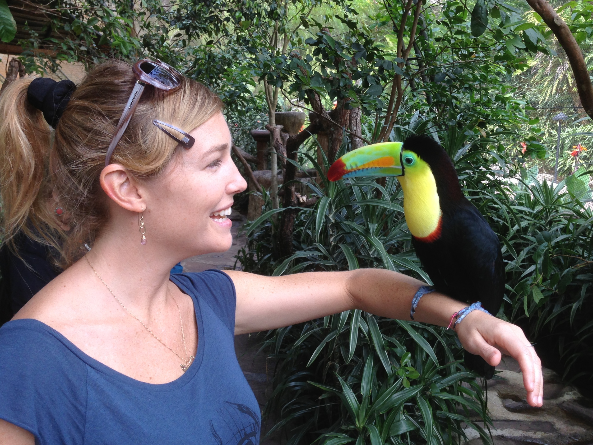 Luci Butler with Toucan at La Paz Waterfall Gardens Costa Rica
