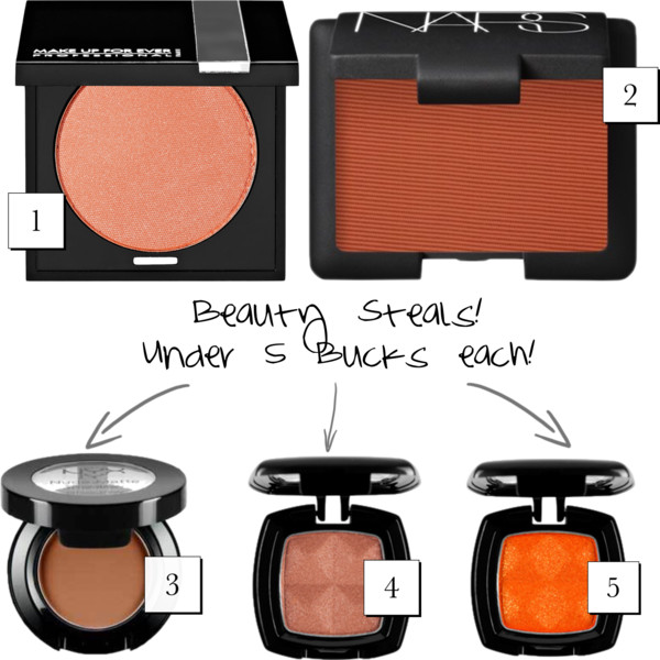 1. Make Up For Ever Eyeshadow in  Pearly Orange  2. NARS Eyeshadow in  Persia  3. NYX Nude Matte Eyeshadow in  Dance the Tides  4. NYX eyeshadow in  Copper  5. NYX eyeshadow in  Hot Orange
