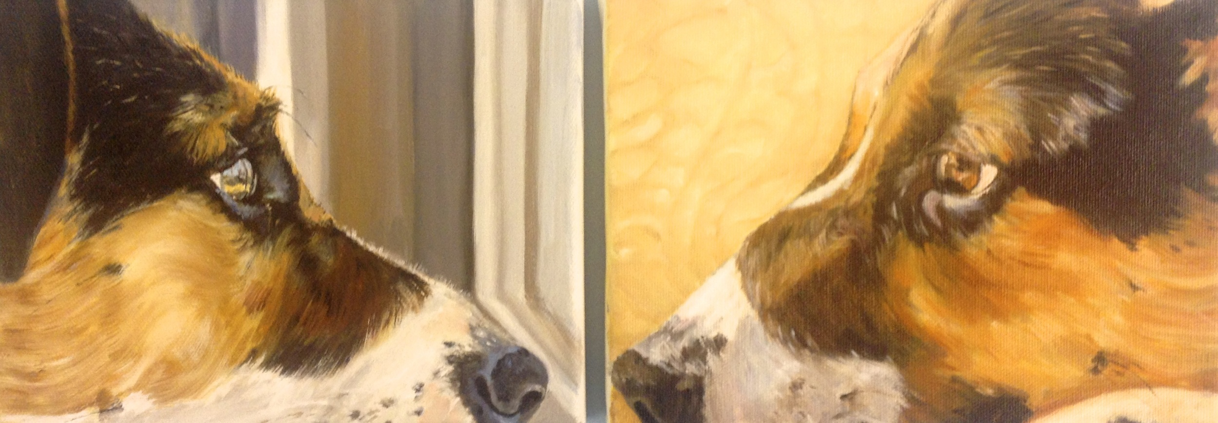 "A diptych of ""Maggie"" by Beverley Phillips, a student at Red Dot for 8 years."