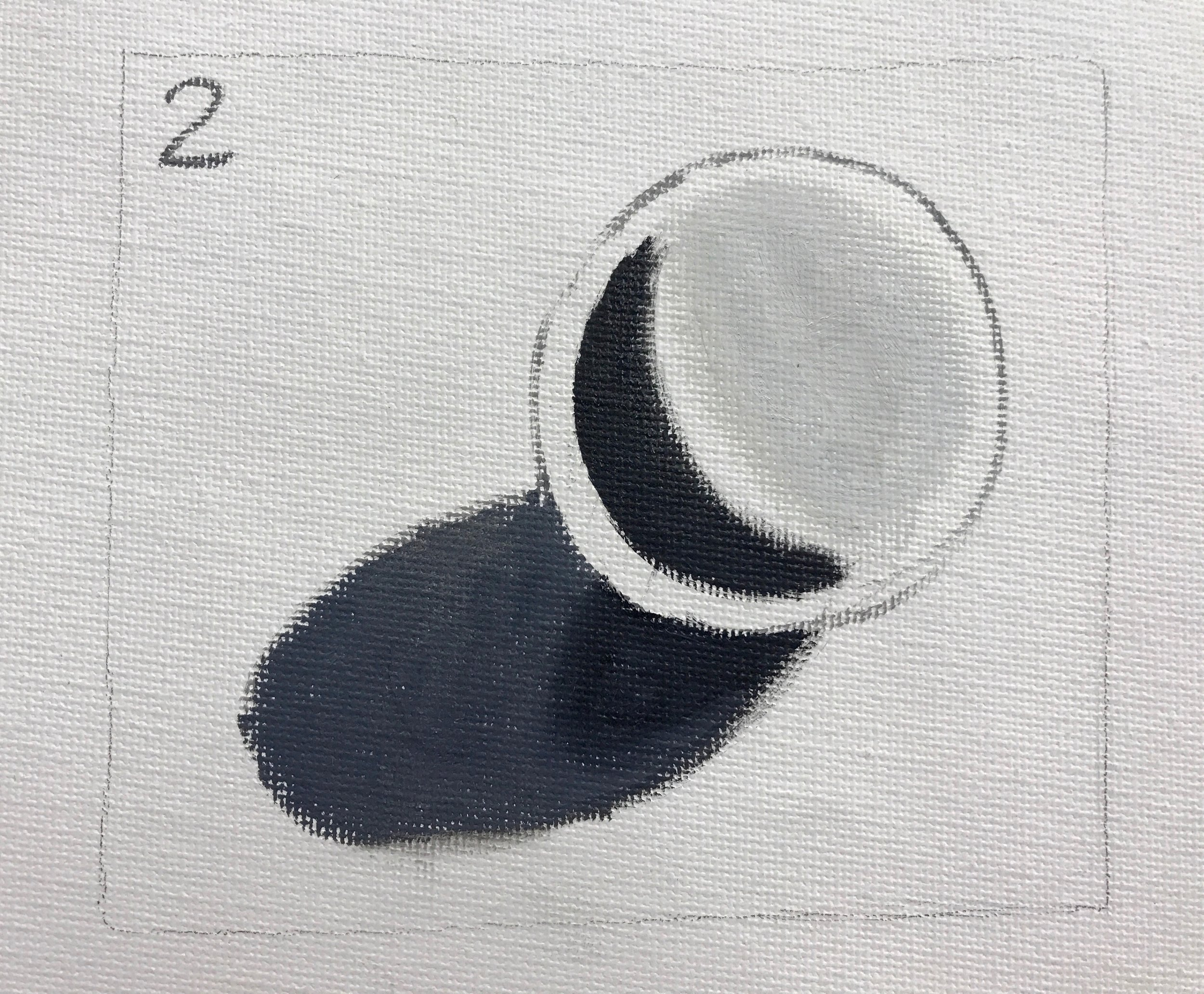 Paint light and shadow on sphere and two values in cast shadow.