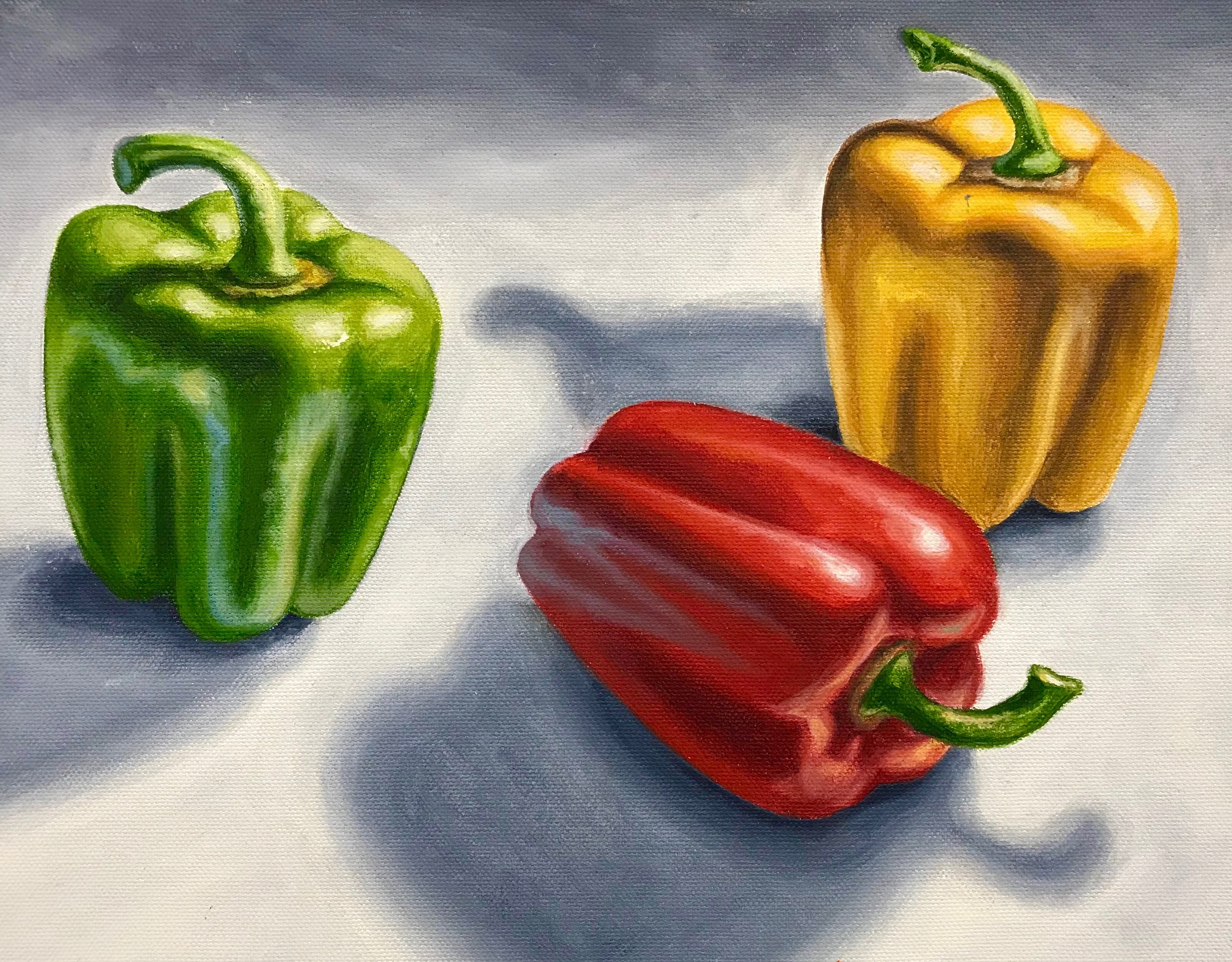 Fruit and Veggie Tutorials - Like the first painting taught at Red Dot,the fruit tutorial guides you through each step of an oil painting.The fake-veggie tutorial teaches the same process for more practice.