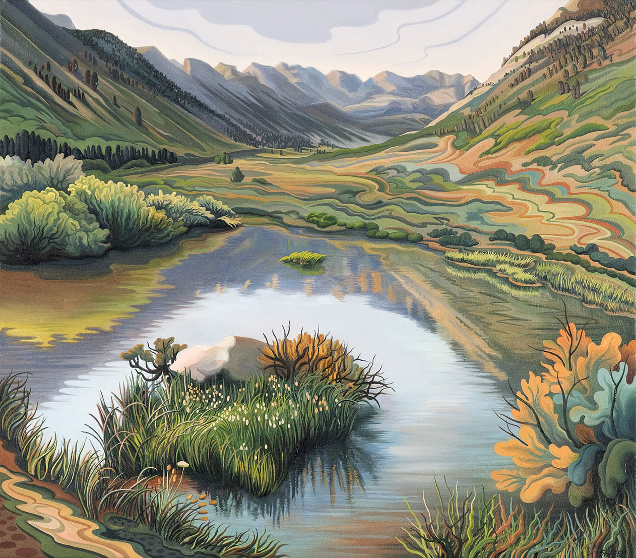 """Phyllis Shafer, """"Lamoille Canyon Beaver Pond"""" (2011), oil on canvas, 22 × 25 inches"""