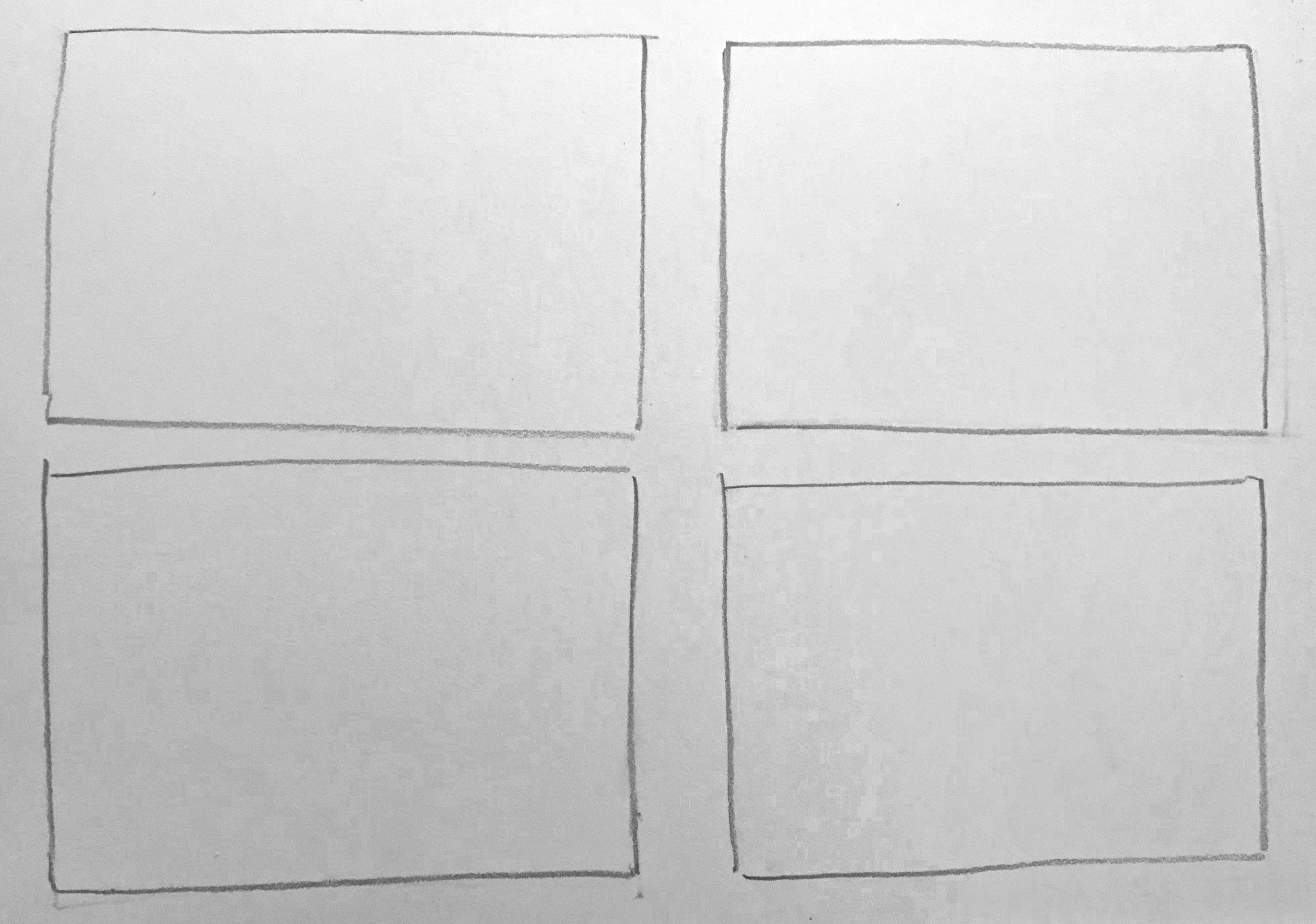 Draw rectangles - Start your studies (or thumbnail sketches) by drawing four rectangles, filling up your page.
