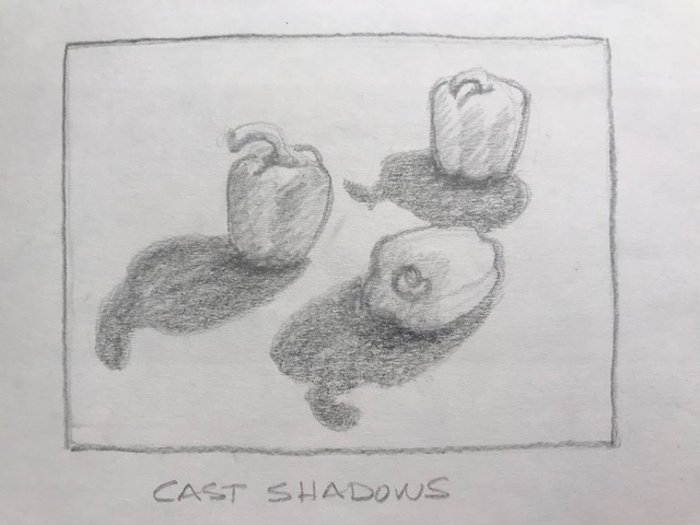 2. Shadow as subject - Move your lamp and fruit around, and instead of concentrating on the fruit, consider the shadows to be your focus.