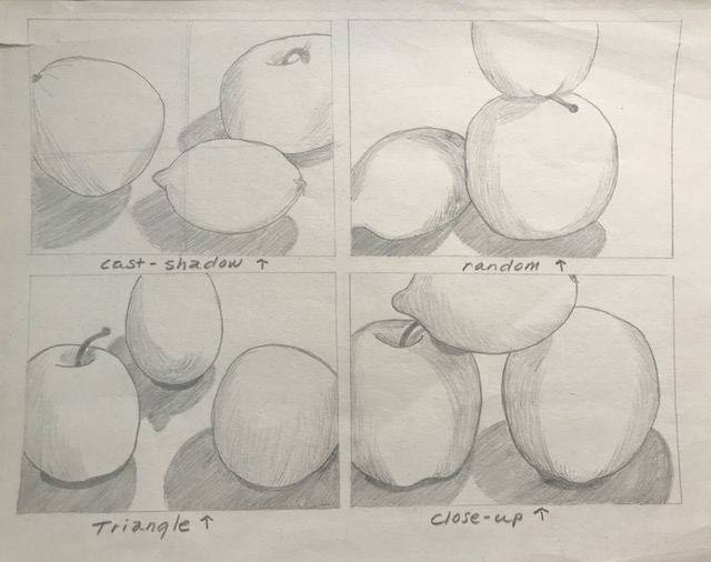More negative space - Each of these compositions is interesting and thoughtful. The artist could have perhaps tried the fruit in different sizes for variety. They also could have experimented with more negative space.