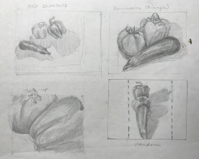 Mistakes - Not all of your sketches will necessarily be good. That's why we try four. Each of these studies would be better if cropped. Note that the close-up is a square, and would not translate to a rectangle canvas.