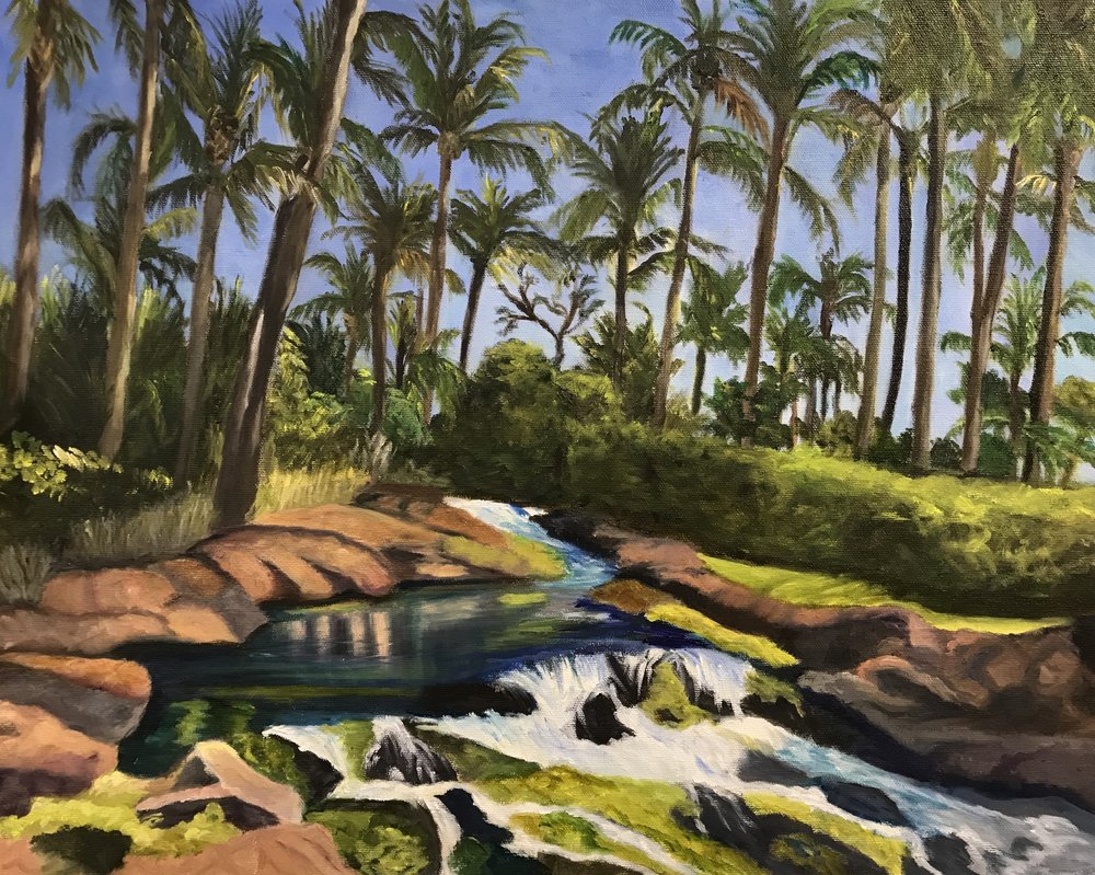 Preliminaries - The first steps to preparing for your landscape painting. Painting by student Pat Conrad.