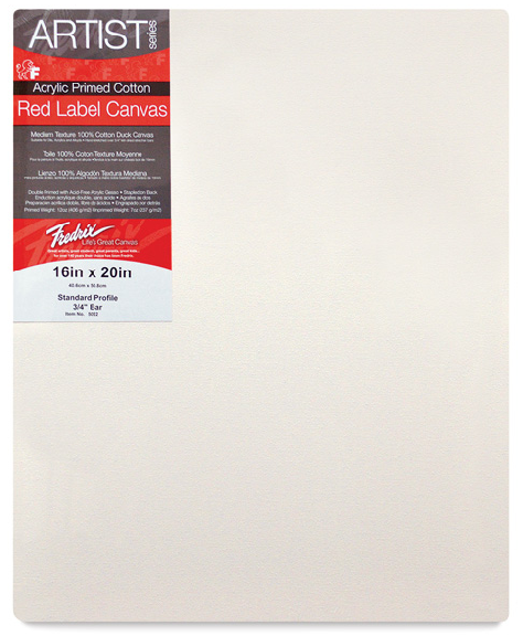 Canvas Option1 - Once you've completed practice paintings on the canvas pad, you're ready to paint on a stretched canvas. I don't specifically recommend any one canvas, but I've found many of my students have had success with Fredrix Red or Blue Label. I DO NOT recommend buying cheap canvas. My students have had enormous trouble with discount canvases. It's not worth it!