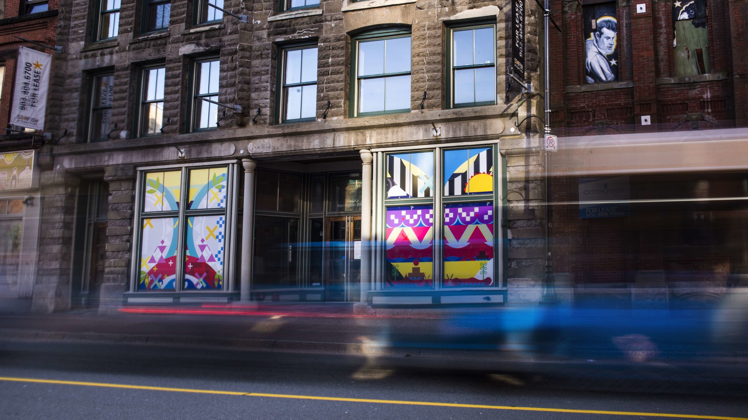 Ne'ata'q (Sun is Coming Out) 2019   1566 Barrington Street, Halifax, NS  Materials:  Print on Vinyl  Photo:  NOCTURNE Installation commissioned by  NOCTURNE , DHBC's for Gritty to Pretty Program Project managed by  IOTA STUDIOS