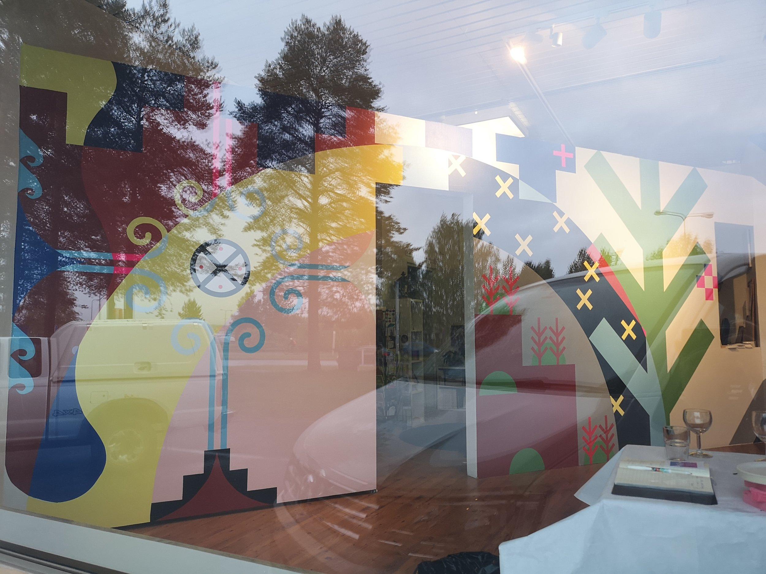 APUKNAJIT 1908 2019  Gallery Napa, Rovaniemi, Lapland, Finland  Materials:  Acylic paint on wall  Dimensions:  25'x9'