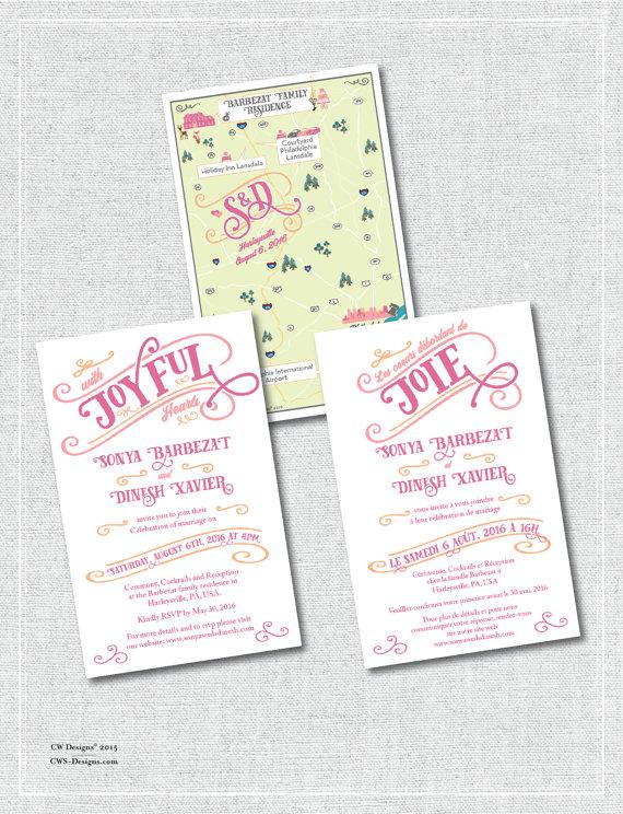 Multilingual wedding map