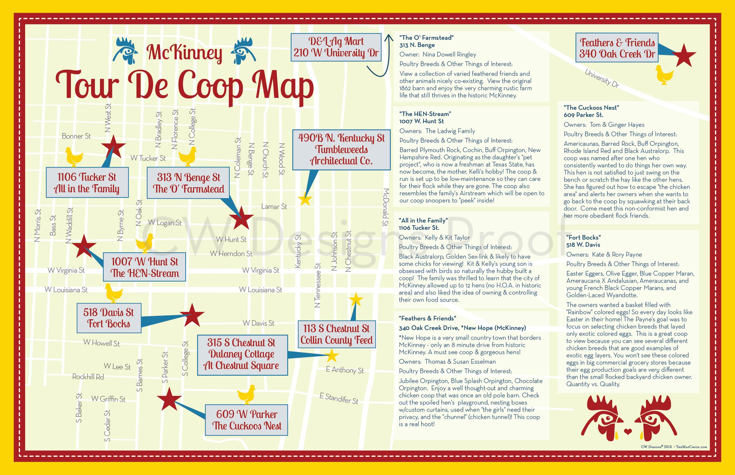McKinney, Texas Tour de Coop Map Z-Fold Flier