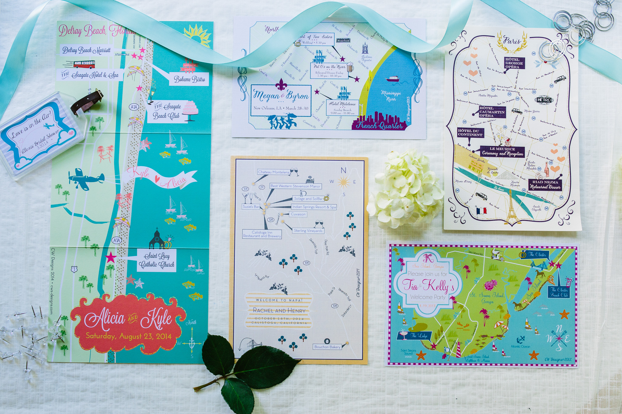 Cool Whimsical Custom Wedding Maps