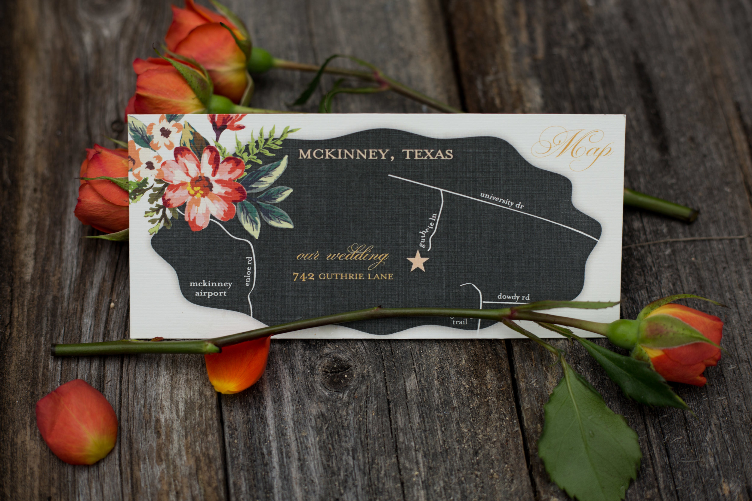 Wedding Map Direction Card McKinney