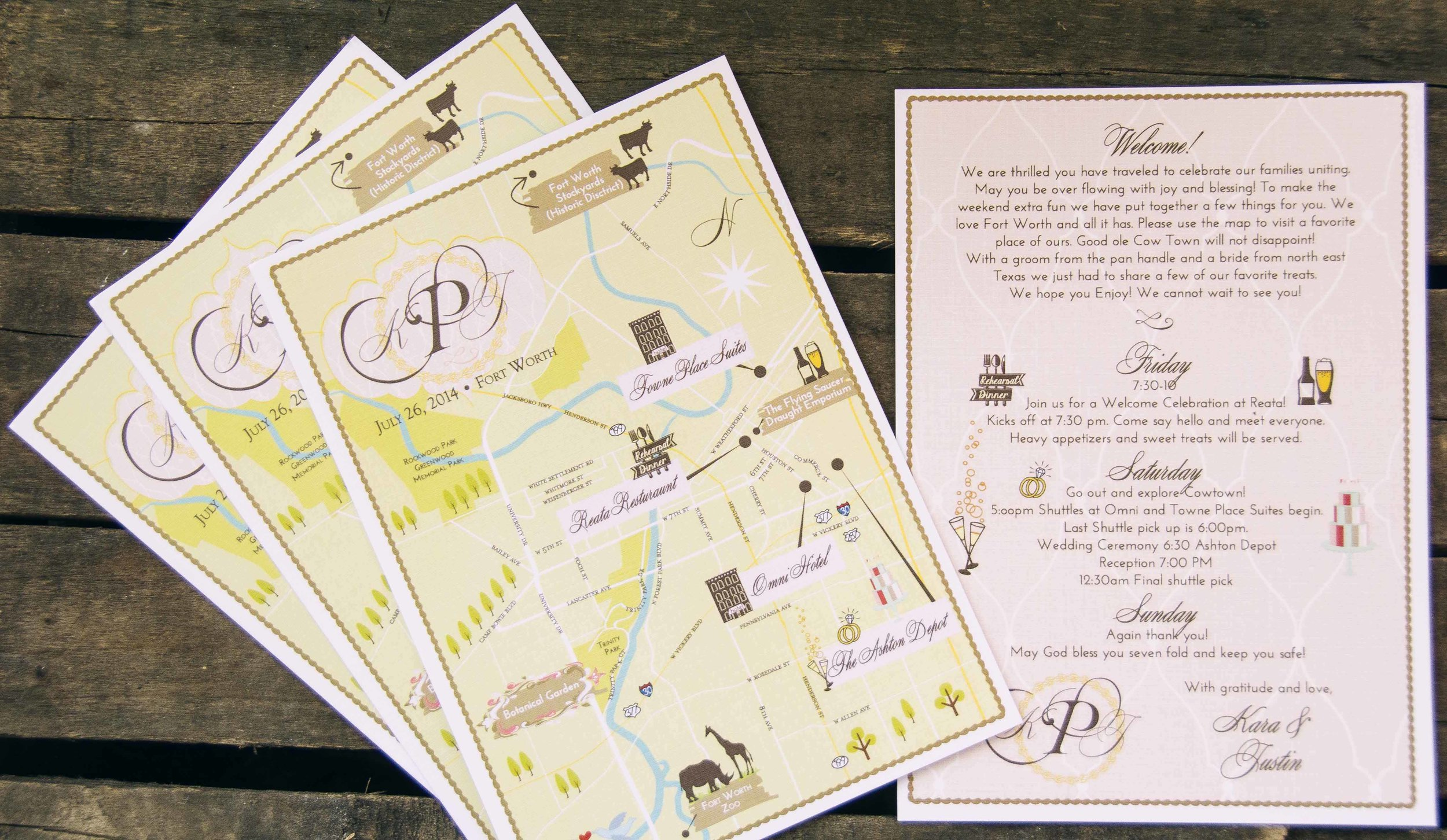 Custom Wedding Map Fort Worth