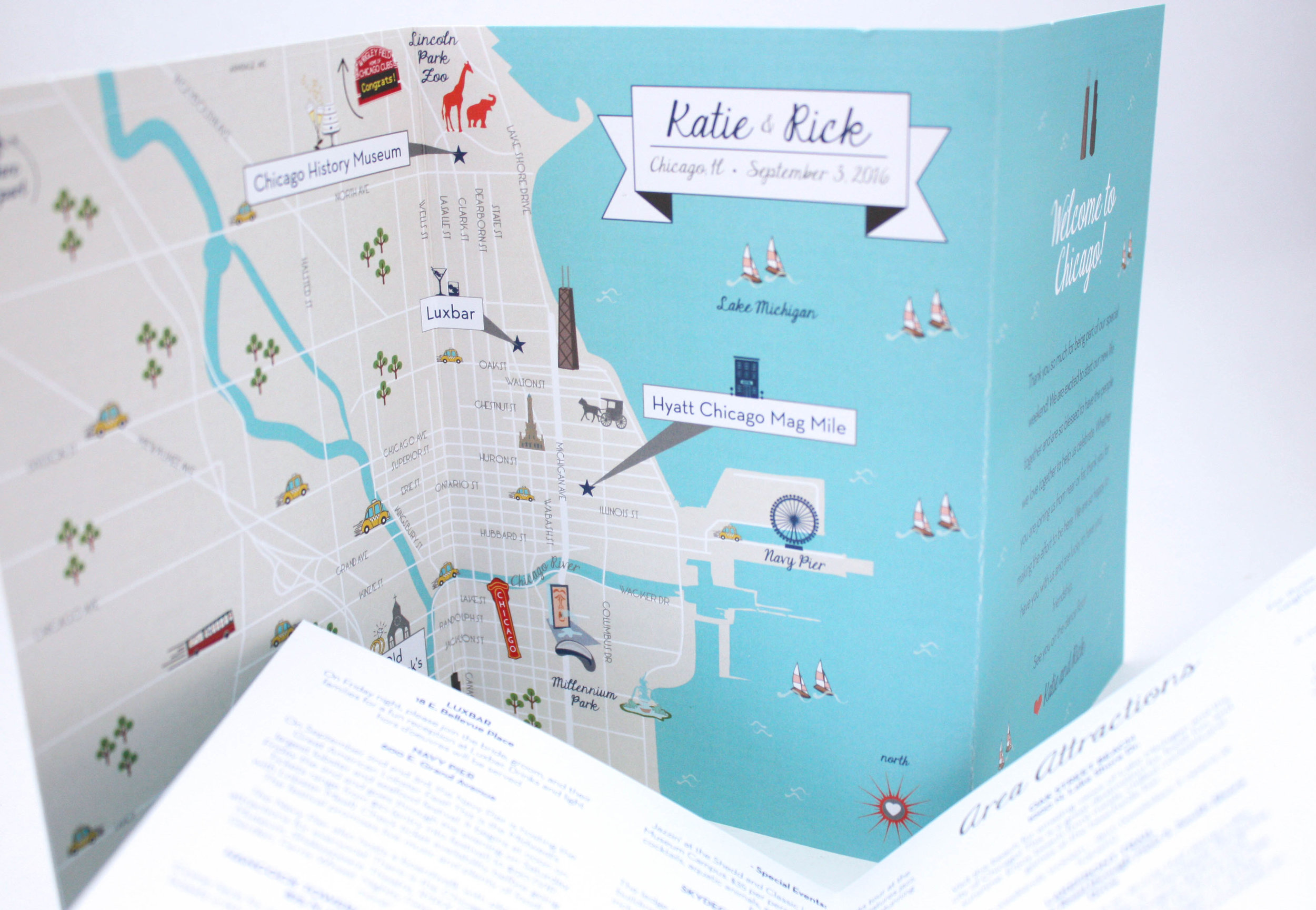 This detailed wedding map listed area attractions and highlighted the wedding weekend festivities.