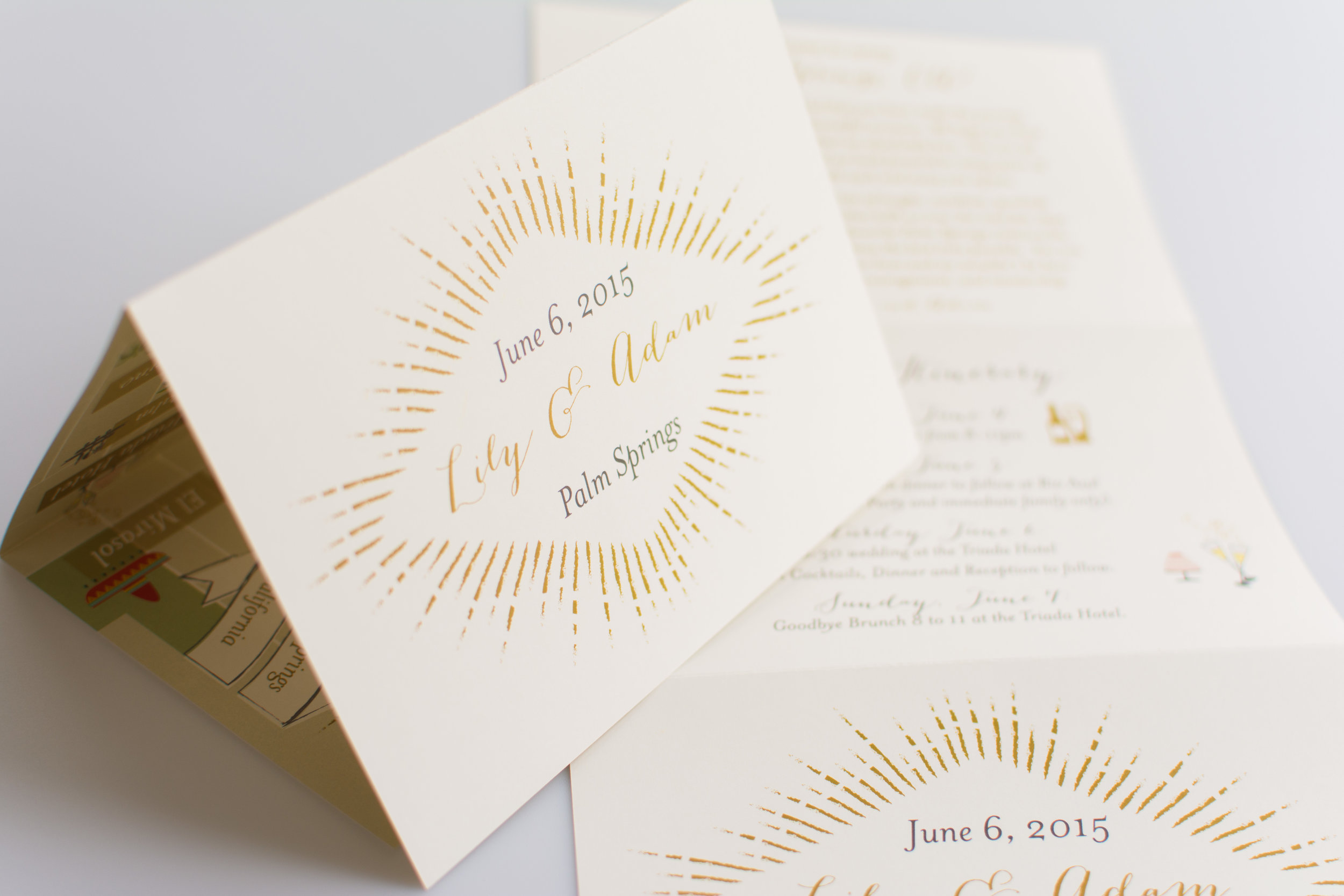 This art deco wedding map kept this Palm Springs wedding running smoothly.