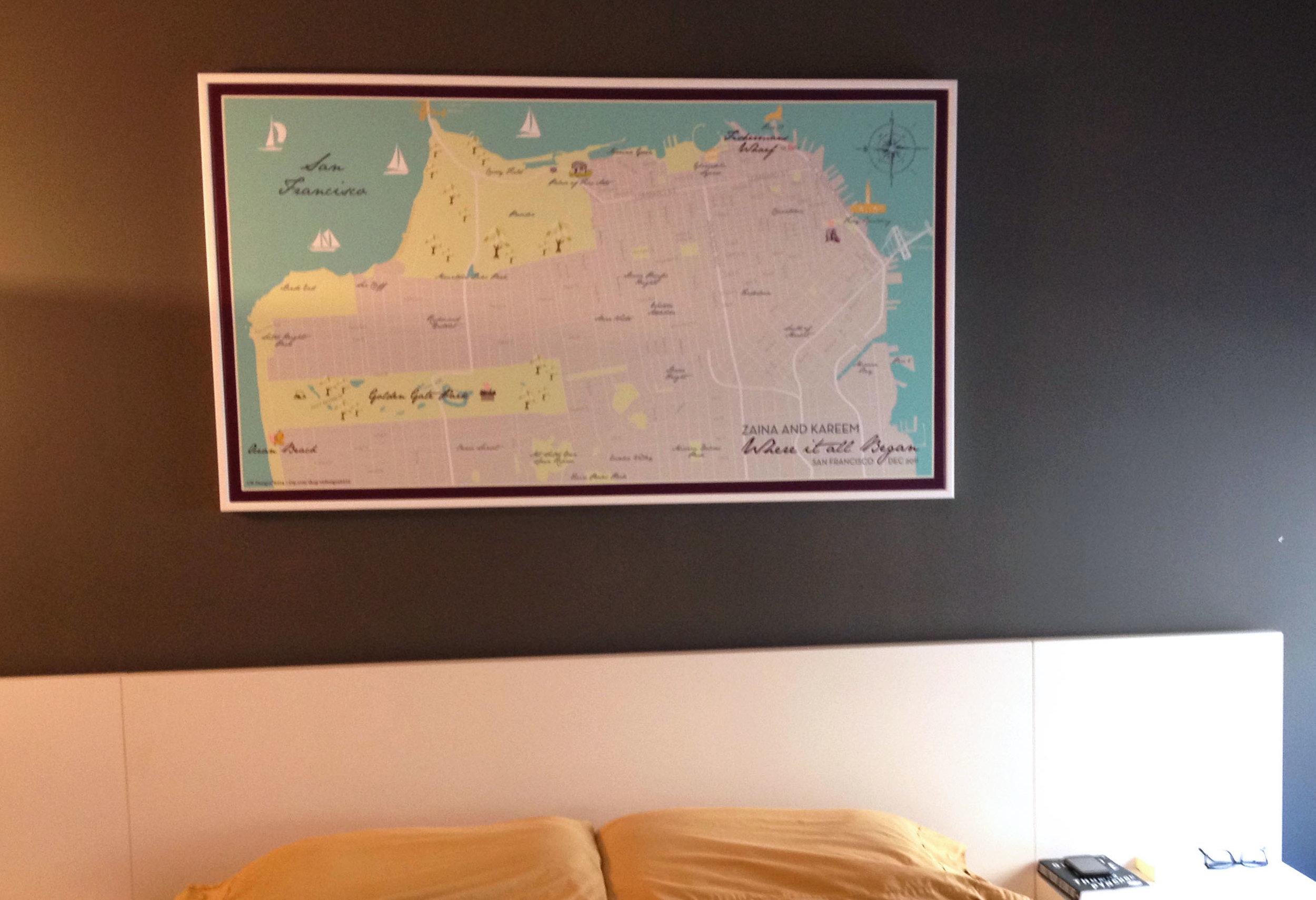 San Francisco Wedding Map Canvas