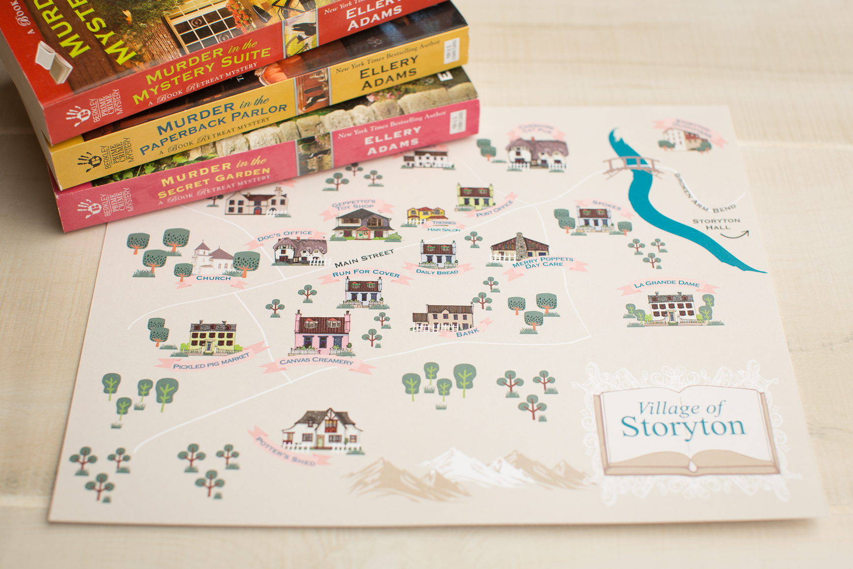 """I had a great time designing these Village Maps for for inside    Ellery Adams books    • B&W 6"""" x 9"""""""