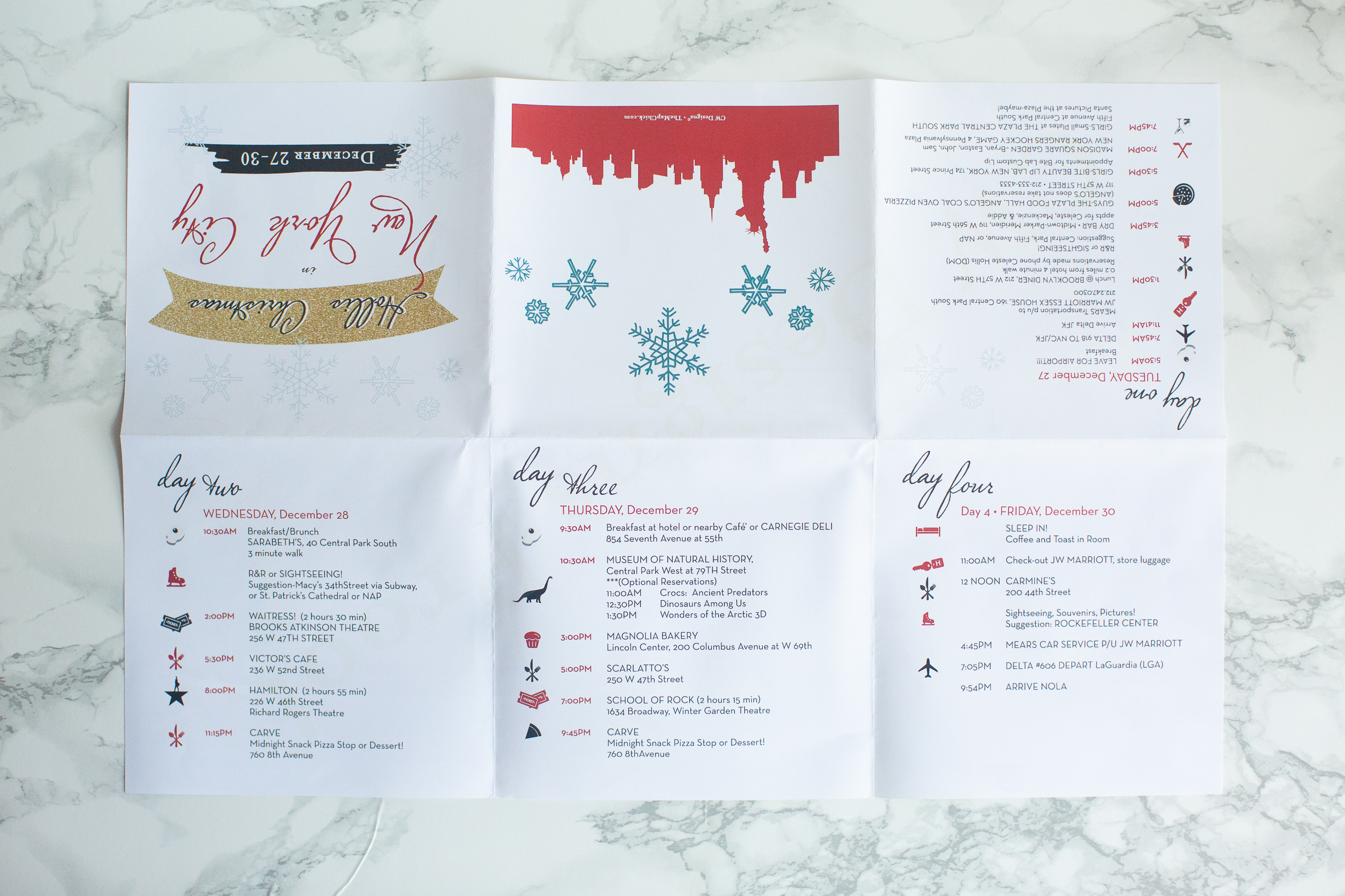 "Family Holiday Vacation, NYC with Week Itinerary   11"" x 17"" Quad Fold"