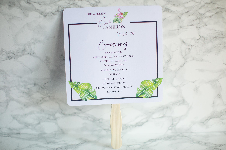 Tropical Wedding Program Fan CW Designs